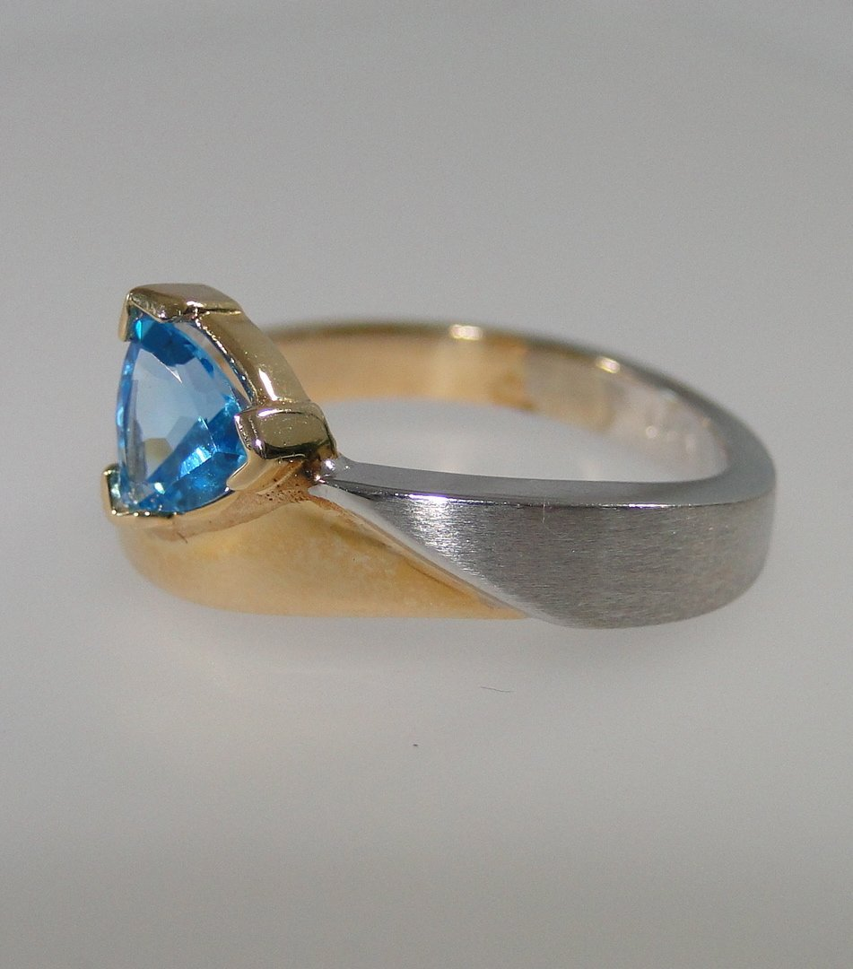 14K Two-Tone Blue Topaz Ring.