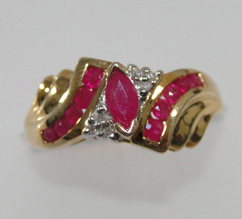 10K Ruby and Diamond Fashion Ring.