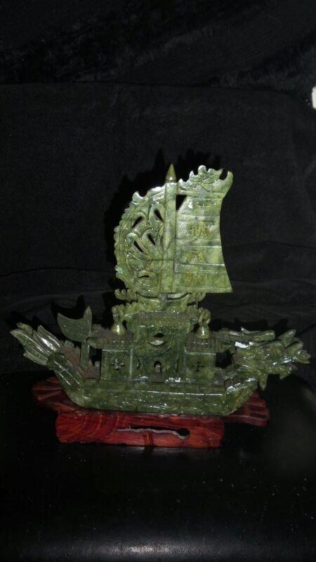 GREEN SPINACH JADE DRAKE SHIP