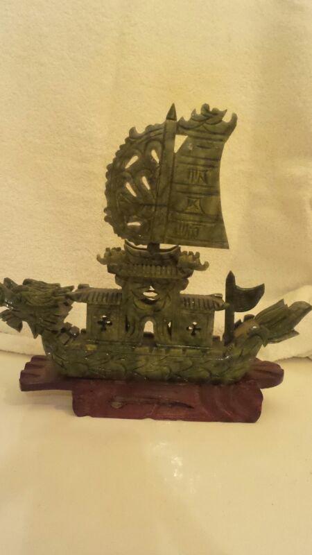 GREEN SPINACH JADEITE DRAKE SHIP