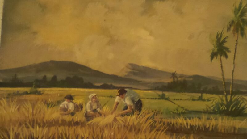 OILPAINTED INDONESIAN RICE FIELD SIGNED