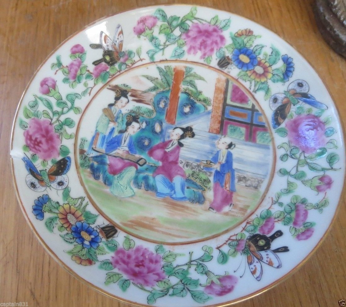 19th c CHINEES  FAMILY FAMILY ROSE MANDERIN BUTTERFLY