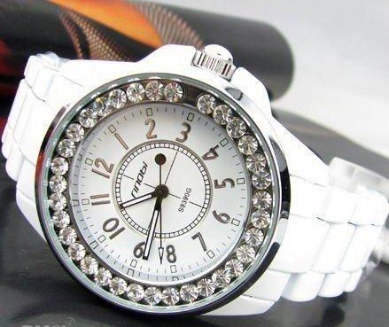 Luxury Ceramic Diamond Case Rhinestone Ladies Watch