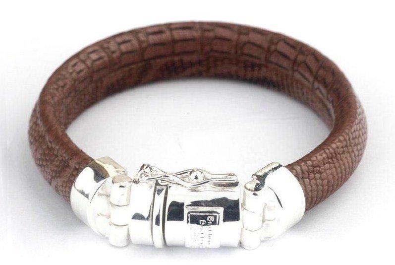Leather buddha to buddha bracelet 925 silver