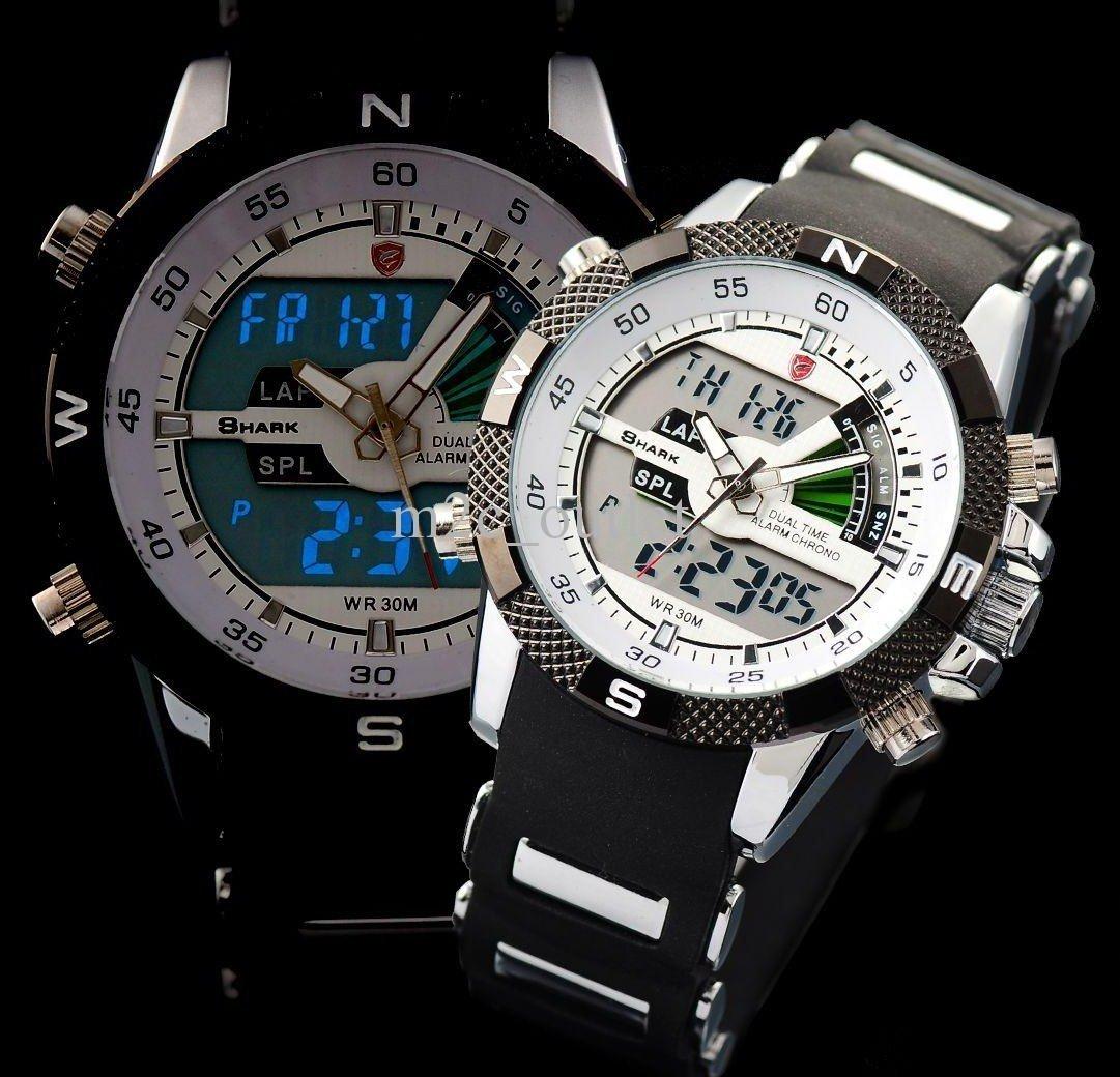 Mens Wrist Watch Quartz Sport LCD Dual