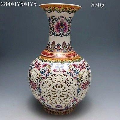 Chinese Rose Colorful Porcelain Vase