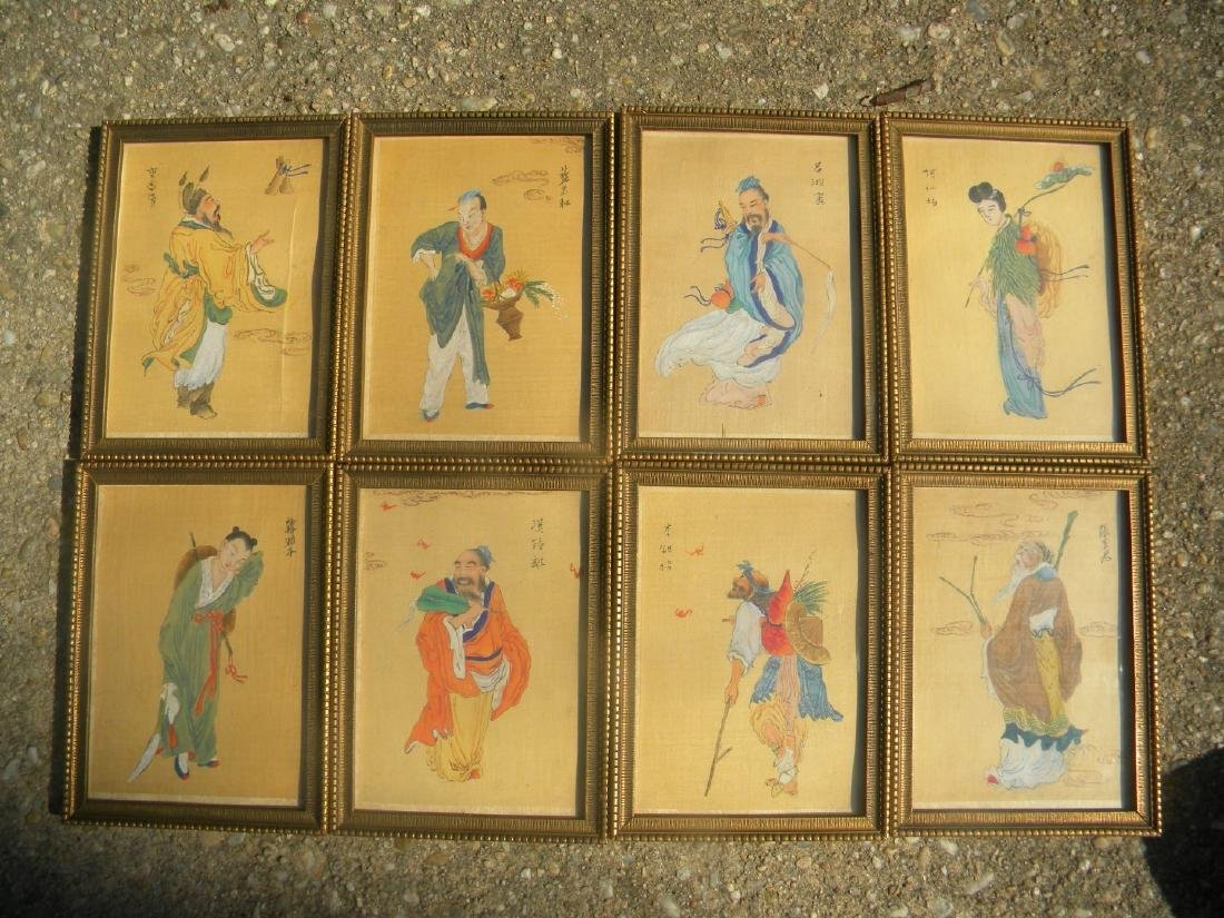 Antique Chinese Eight Immortals Painting Framed