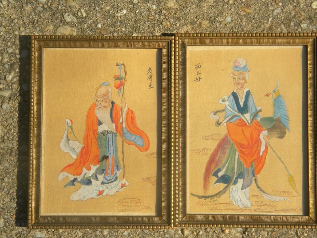 Antique Chinese LongevityGod and Godness Paintings