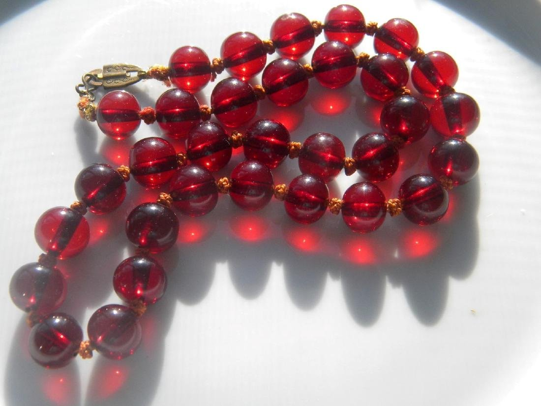 Antique Cherry Amber Bead Necklace