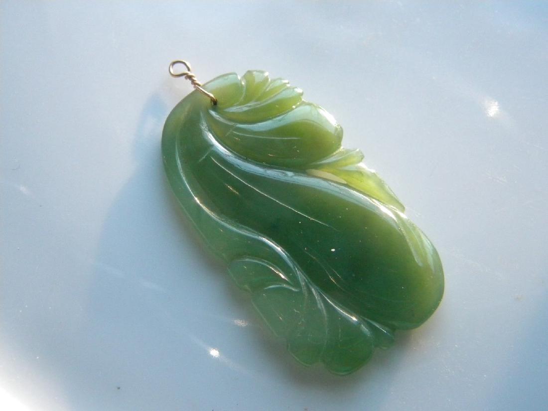 Antique Green Jade Carved Melon Pendant