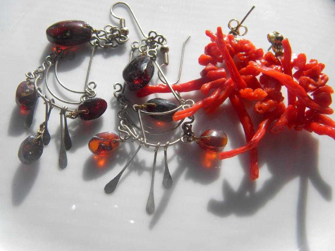 Pair of Red Coral and Sterling Amber Earrings