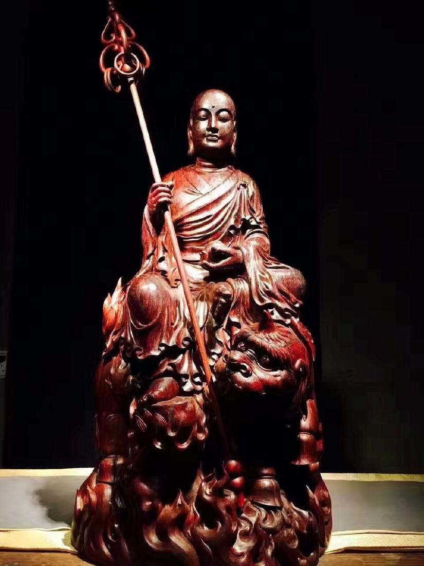 Natural Zitan Carved Buddha Statue