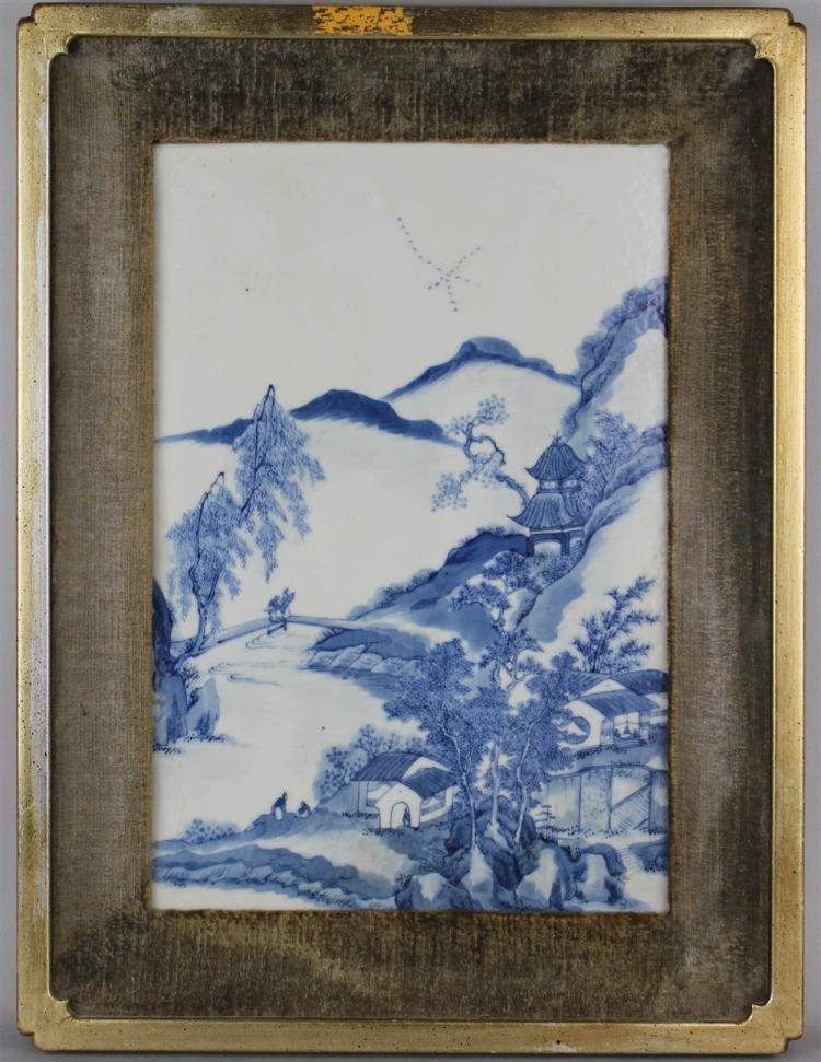 Antique Chinese UNDERGLAZE BLUE & WHITE PORCELAIN TILE