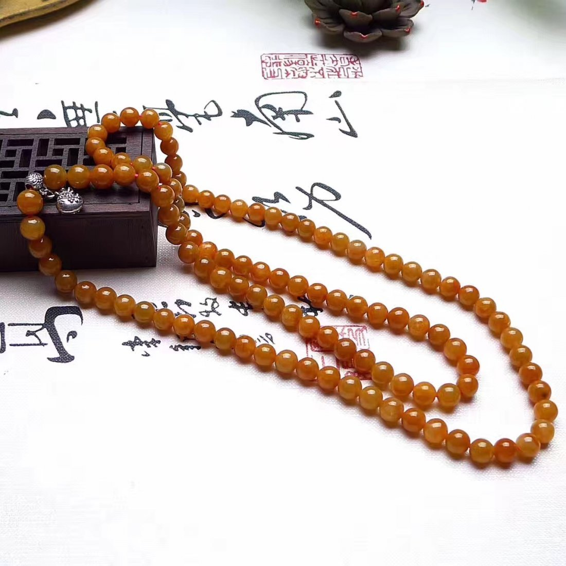 Natural Red Jadeite 108 Buddha Prayer Bead