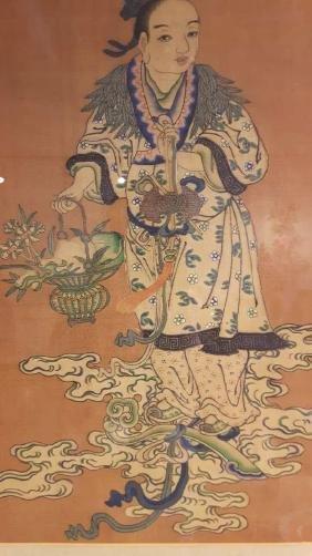 Antique Chinese Kesi Boy Framed