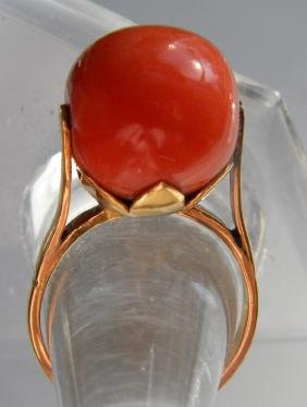 Antique 14K Gold Red Coral Ring