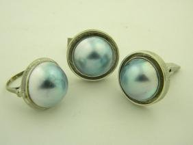 Heavy Three 14K Gold Pearl Ring and Cuff Links