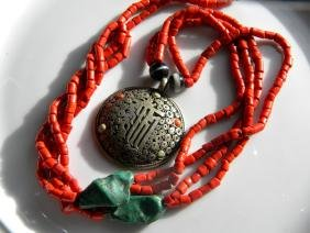 Antique Tibet Silver Pendant with Red Coral, Turquoise