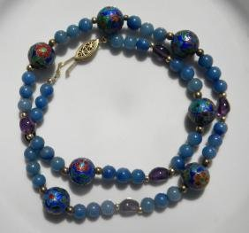 Vintage chinese Enamel Silver Blue Bead Necklace