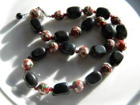 Vintage Black Onyx and Enamel Silver Bead Necklace
