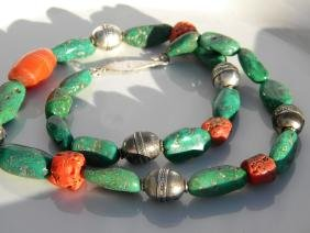 Antique Chinese Nan Hong, Turquoise and Coral Necklace
