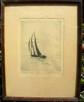 Antique Boat Painting Signed