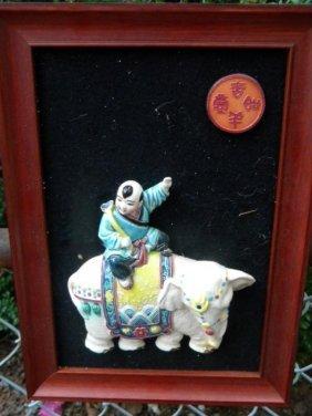 Antique Chinese Boy Riding Elephant Porcelain Statue