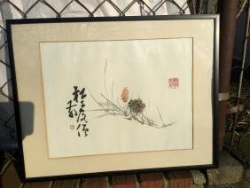 Antique Chinese Painting of Pine Cone Framed