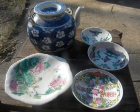 Antique Chinese Four Dishes and One Teapot