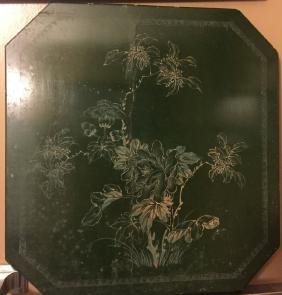 Antique Chinese Green Lacquer Panel