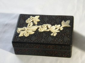 Antique Chinese Lacquer Box with Flower Inlay