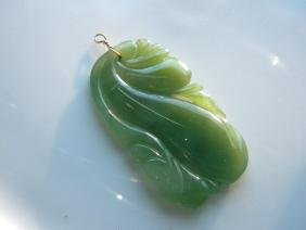 Antique Green Jade Carved Melon Pendant
