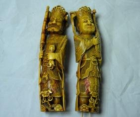 Pair of Carved Warrior Statue