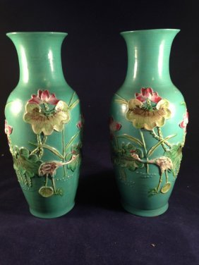 Pair of Antique Chinese Green Vases