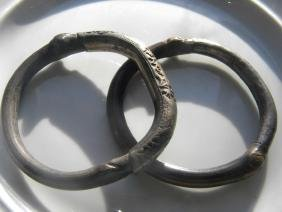 Two Antique Chinese Silver and Bamboo Bracelets