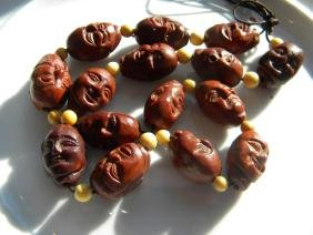 Antique Chinese Carved Pit Nut Necklace
