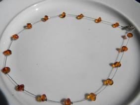 Natural Baltic Amber Necklace Silver Chain