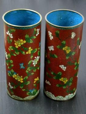 Pair of Antique Chinese Cloisonne Hat Stands