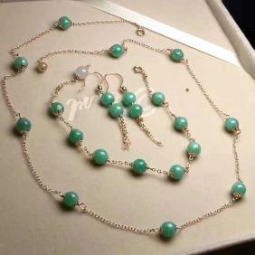 Set of 14K Gold Green Jadeite Necklace,bracelet,Earring