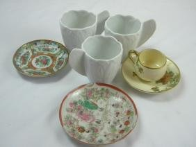 Group of Limoge and Satsuma Cups and Dishes