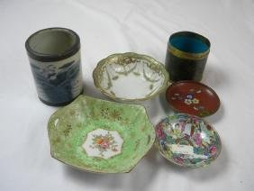 Group of Plates and Chinese Brush Holder
