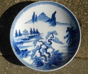 Antique Chinese Blue and White Plate Mountain Scene