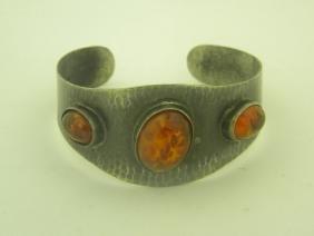 Antique Sterling Silver Amber Bracelet