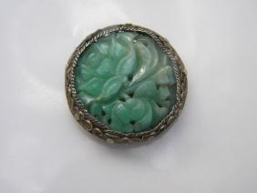 Antique Chinese Silver Filigree Green Jadeite Brooch