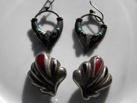 Two Pairs of Sterling Silver Earrings