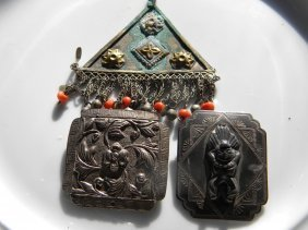 Group of Sterling Silver Items with coral beads