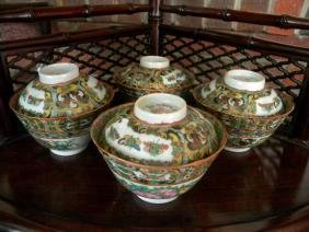 Four Antique Chinese Tea Cups with Cover Marked China