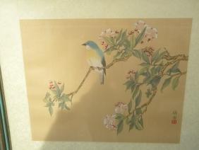 Antique Bird Hand Painted Paitning Framed