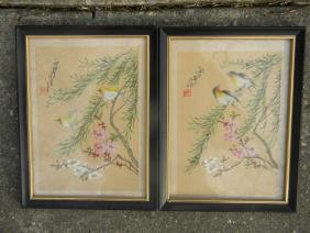 Two Antique Bird Hand Painted Painting Framed