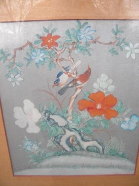 Antique Bird Hand Painted Painting Framed